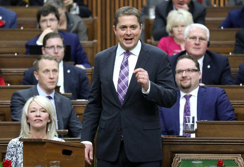 FILE PHOTO - Conservative leader Scheer speaks in the House of Commons on Parliament Hill in Ottawa
