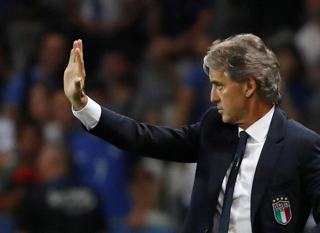 Soccer Football - International Friendly - France vs Italy - Allianz Riviera, Nice, France - June 1, 2018 Italy coach Roberto Mancini gestures REUTERS/Eric Gaillard