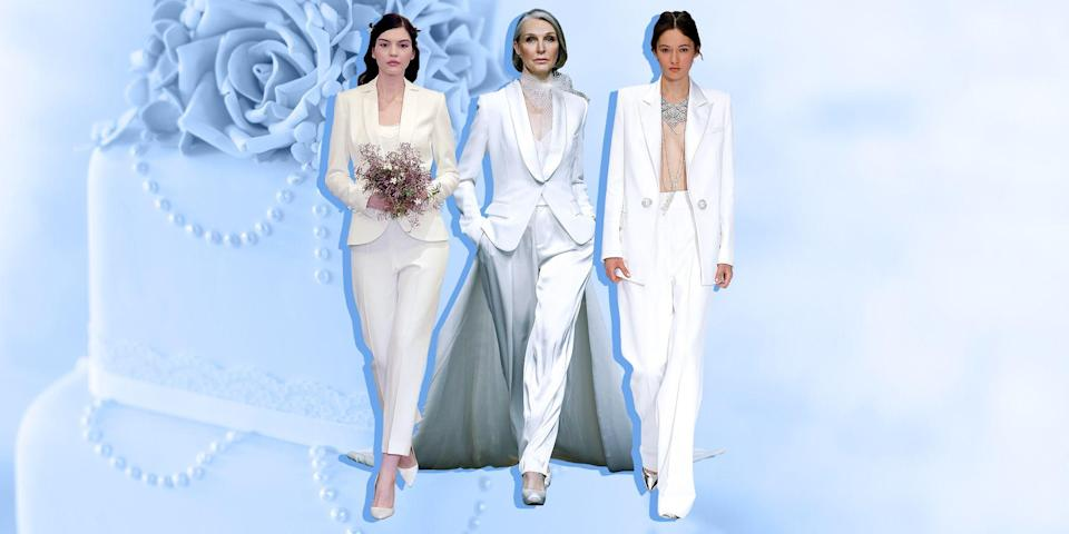 """<p>While we love tradition at <em>Town & Country</em>, we also support <a href=""""https://www.townandcountrymag.com/style/fashion-trends/g32290758/best-non-traditional-wedding-dresses/"""" rel=""""nofollow noopener"""" target=""""_blank"""" data-ylk=""""slk:the decision to go your own way"""" class=""""link rapid-noclick-resp"""">the decision to go your own way</a> (aristocrats have been doing it for centuries). While classic white gowns are beautiful for weddings, they are not your only option as a bride. Suits and separates are beautiful the day of and offer more versatility to re-wear after. So whether <a href=""""https://www.townandcountrymag.com/style/fashion-trends/g33925071/city-hall-wedding-dresses-outfits/"""" rel=""""nofollow noopener"""" target=""""_blank"""" data-ylk=""""slk:you have opted for a courthouse wedding"""" class=""""link rapid-noclick-resp"""">you have opted for a courthouse wedding</a> and want to keep the look modern, or you simply feel more like <em>you</em> in a suit, check out our favorite options, below.</p>"""