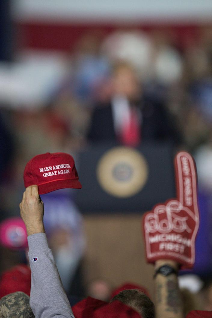 Crowd cheer for President Donald J. Trump during Make America Great Again rally at Total Sports Park in Washington Township, Saturday, April 28, 2018.