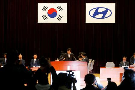 Lee Won-hee, President and Chief Executive Officer at Hyundai Motor presides over a general shareholders' meeting in Seoul, South Korea, March 22, 2019.     REUTERS/Kim Hong-Ji
