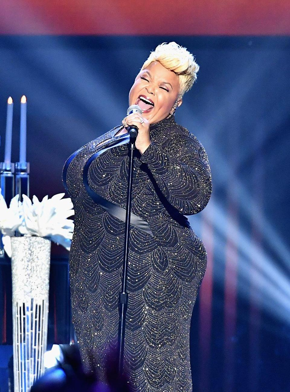 """<p>Gospel superstar Tamela Mann switches styles frequently, but some of her most renowned musical moments have featured her extra pale, cool-toned blonde. However, blonde this pale requires special products for maintenance. """"When you lighten your hair and go up the yellow scale, the yellow can pop out more prominently as your toner fades over time. Purple shampoo helps neutralize the yellow by giving your hair a cooler tone to help prolong your blonde between salon visits,"""" explains Querisma. </p>"""