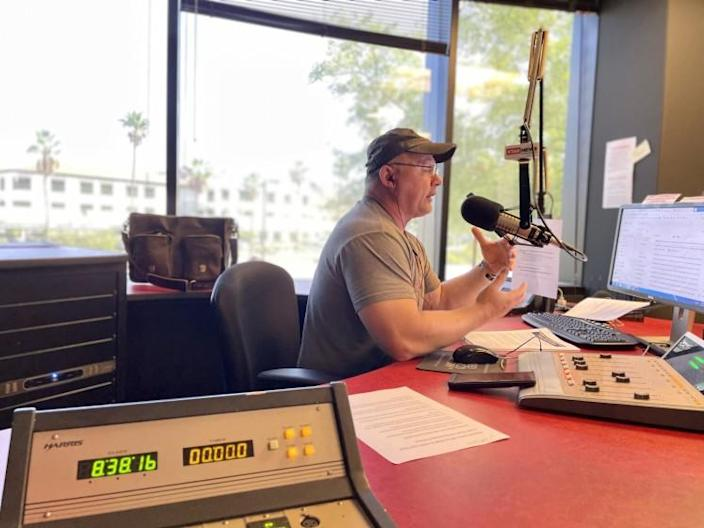Mike Broomhead, a conservative talk radio host based in Phoenix, tapes his morning show.