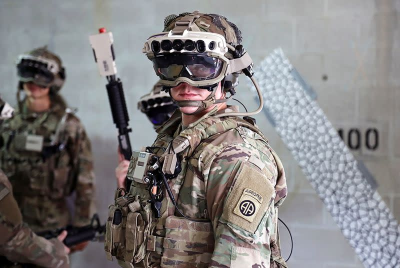 Soldiers don prototype of the Army's augmented reality headsets during training at Fort Pickett, Virginia