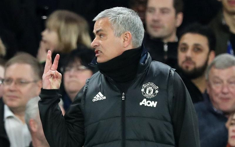 Jose Mourinho shows his displeasure at Stamford Bridge earlier this season - Rex Features