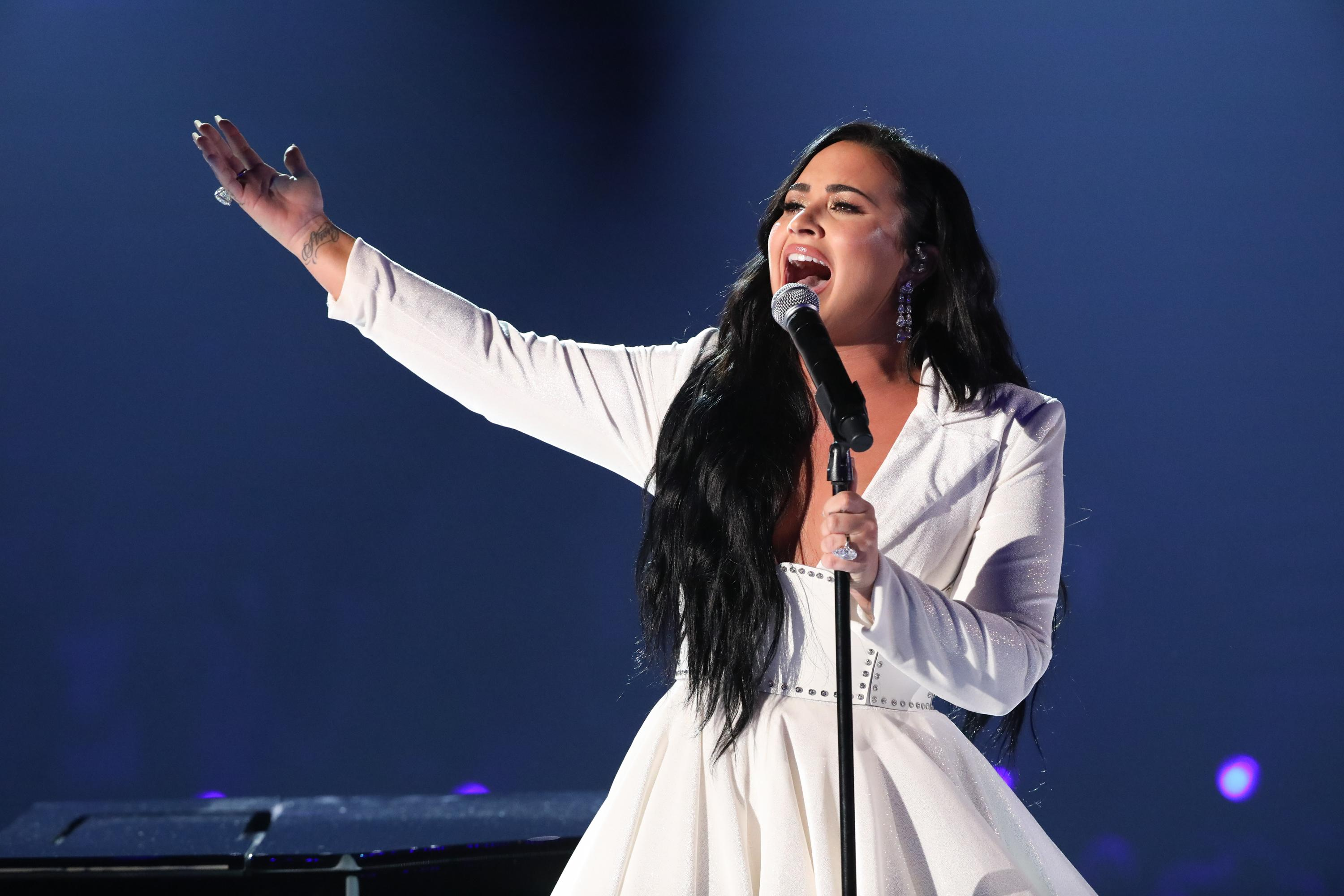 LOS ANGELES - JANUARY 26: Demi Lovato performs at THE 62ND ANNUAL GRAMMY® AWARDS, broadcast live from the STAPLES Center in Los Angeles, Sunday, January 26, 2020 (8:00-11:30 PM, live ET/5:00-8:30 PM, live PT) on the CBS Television Network. (Photo by Monty Brinton/CBS via Getty Images)