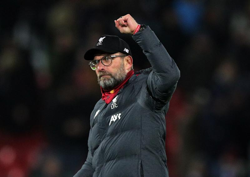 Liverpool manager Jurgen Klopp acknowledges the fans after the Premier League match at Anfield, Liverpool. (Photo by Peter Byrne/PA Images via Getty Images)