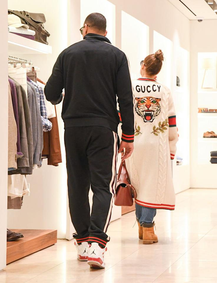 <p>On Wednesday, the couple was spotted shopping in L.A. wearing coordinated Gucci outfits. (Photo: Getty Images) </p>