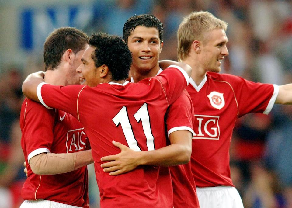 Manchester United Cristiano Ronaldo (second right) celebrates his goal against Oxford, with his team-mates during the friendly match at the Kassam Stadium, Oxford. (Photo by Sean Dempsey - PA Images/PA Images via Getty Images)