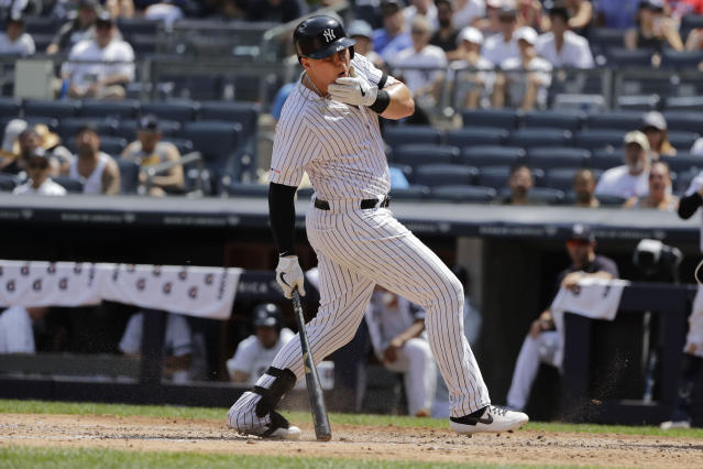 New York Yankees' Luke Voit reacts after being hit with a pitch during the fourth inning of a baseball game against the Colorado Rockies Saturday, July 20, 2019, in New York. (AP Photo/Frank Franklin II)