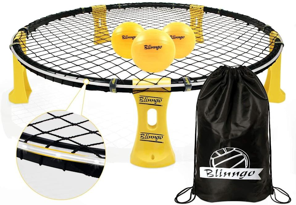 """<p>This fast-paced <a href=""""https://www.popsugar.com/buy/Blinngoball-Outdoor-Games-Set-569759?p_name=Blinngoball%20Outdoor%20Games%20Set&retailer=amazon.com&pid=569759&price=50&evar1=moms%3Aus&evar9=32519221&evar98=https%3A%2F%2Fwww.popsugar.com%2Ffamily%2Fphoto-gallery%2F32519221%2Fimage%2F43976613%2FBlinngoball-Outdoor-Games-Set&list1=gifts%2Choliday%2Cgift%20guide%2Cgifts%20for%20kids%2Ckid%20shopping%2Ctweens%20and%20teens%2Cgifts%20for%20teens&prop13=api&pdata=1"""" class=""""link rapid-noclick-resp"""" rel=""""nofollow noopener"""" target=""""_blank"""" data-ylk=""""slk:Blinngoball Outdoor Games Set"""">Blinngoball Outdoor Games Set </a> ($50) gets your squad up and moving. And since it can accommodate up to four players, you won't have to worry about taking turns.</p>"""