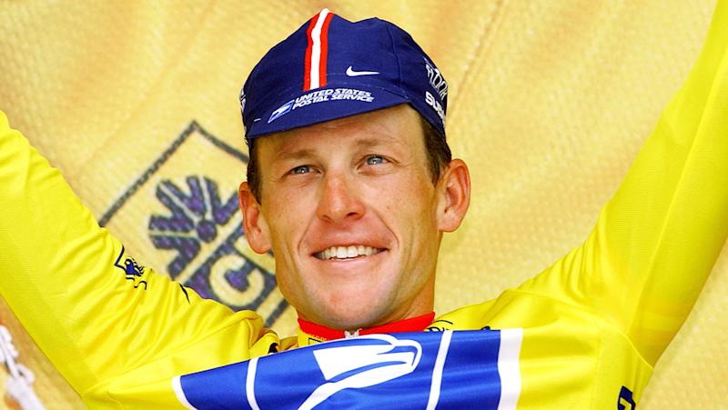 Lance Armstrong is pictured after winning a stage of the 2004 Tour de France.
