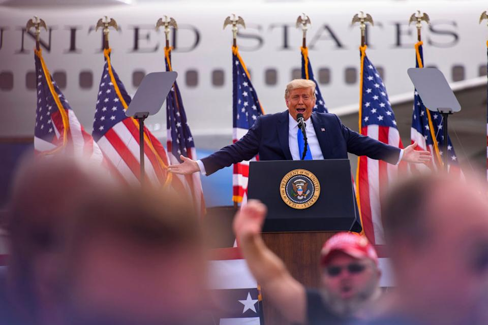 President Donald Trump makes remarks during a Make America Great Again rally. Source: Getty