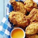 """<p>Homemade crispy coated chicken is a real crowd pleaser, and is best served with an easy barbecue side for the most delicious summer dinner.</p><p><em><a href=""""https://www.goodhousekeeping.com/food-recipes/a39861/buttermilk-fried-chicken-recipe/"""" rel=""""nofollow noopener"""" target=""""_blank"""" data-ylk=""""slk:Get the recipe for Buttermilk Fried Chicken »"""" class=""""link rapid-noclick-resp"""">Get the recipe for Buttermilk Fried Chicken »</a></em></p><p><strong>RELATED:</strong> <a href=""""https://www.goodhousekeeping.com/food-recipes/easy/g27408619/bbq-side-dishes/"""" rel=""""nofollow noopener"""" target=""""_blank"""" data-ylk=""""slk:38 Easy BBQ Side Dishes to Make This Summer"""" class=""""link rapid-noclick-resp"""">38 Easy BBQ Side Dishes to Make This Summer</a></p>"""