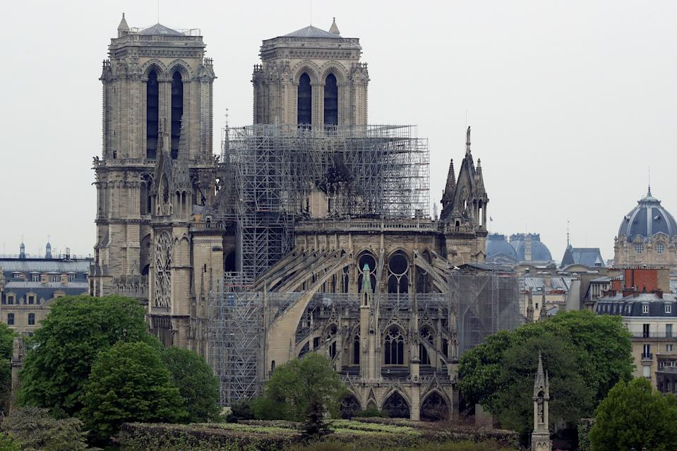A view shows Notre-Dame Cathedral after a massive fire devastated large parts of the gothic gem in Paris, France April 16, 2019.   REUTERS/Gonzalo Fuentes