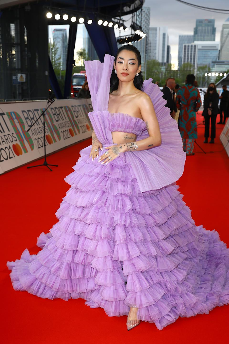Rina Sawayama arrives at The BRIT Awards 2021 at The O2 Arena on May 11, 2021 in London, England. (Photo by JMEnternational/JMEnternational for BRIT Awards/Getty Images)