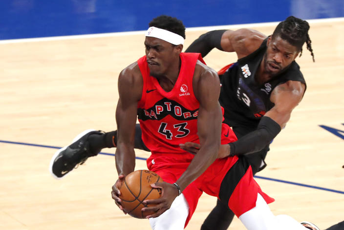 Toronto Raptors forward Pascal Siakam (43) drives to the basket against New York Knicks center Nerlens Noel (3) during the first half of an NBA basketball game Saturday, April 24,2021, in New York. (AP Photo/Noah K. Murray)