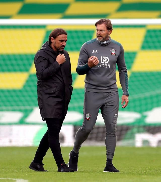 Southampton boss Ralph Hasenhuttl, right, was happier with the outcome than Norwich counterpart Daniel Farke (PA)