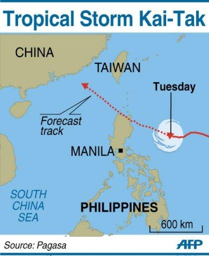 Map showing the path of Tropical Storm Kai-Tak