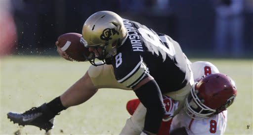 Colorado quarterback Nick Hirschman, left, is dragged down for a loss by Utah defensive end Nate Fakahufua during the second quarter of an NCAA football game, Friday, Nov. 23, 2012, in Boulder, Colo. (AP Photo/David Zalubowski)