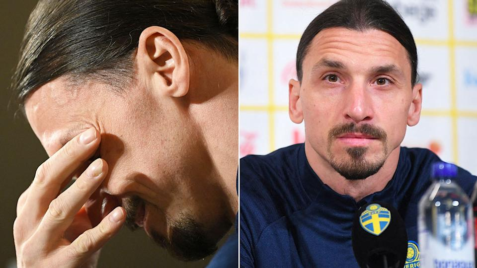 Pictured here, Zlatan Ibrahimovic is brought to tears during a press conference.