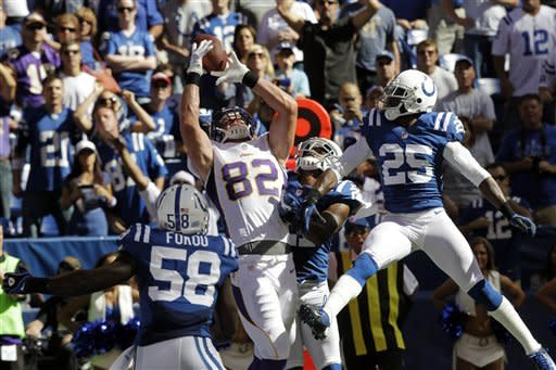 Minnesota Vikings' Kyle Rudolph (82) misses a catch during the second half of an NFL football game against the Indianapolis Colts in Indianapolis, Sunday, Sept. 16, 2012. Vikings' Stephen Burton caught the football for a 7-yard touchdown reception. (AP Photo/Michael Conroy)