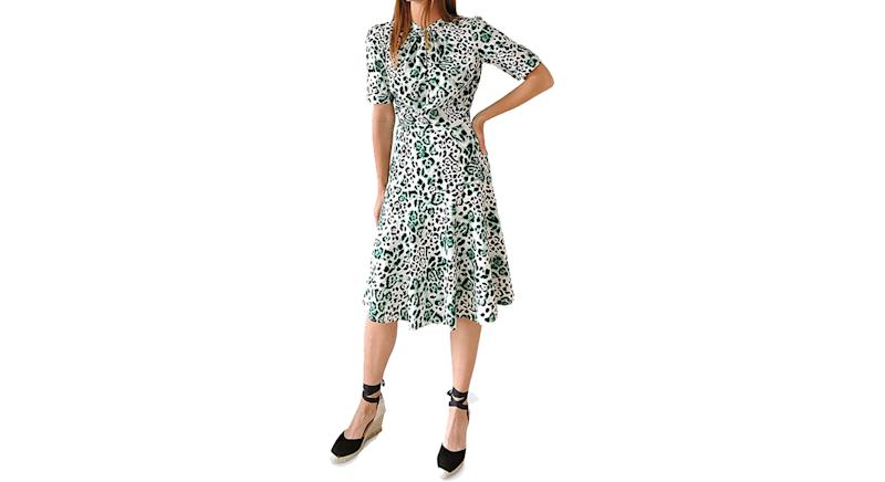 Sosandar Animal Print Twist Neck Dress