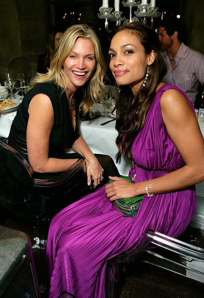 """Natasha Henstridge looks sophisticated in basic black, while Rosario Dawson brightens up the bash in a fuschia gown. Todd Williamson/<a href=""""http://www.wireimage.com"""" target=""""new"""">WireImage.com</a> - October 19, 2007"""