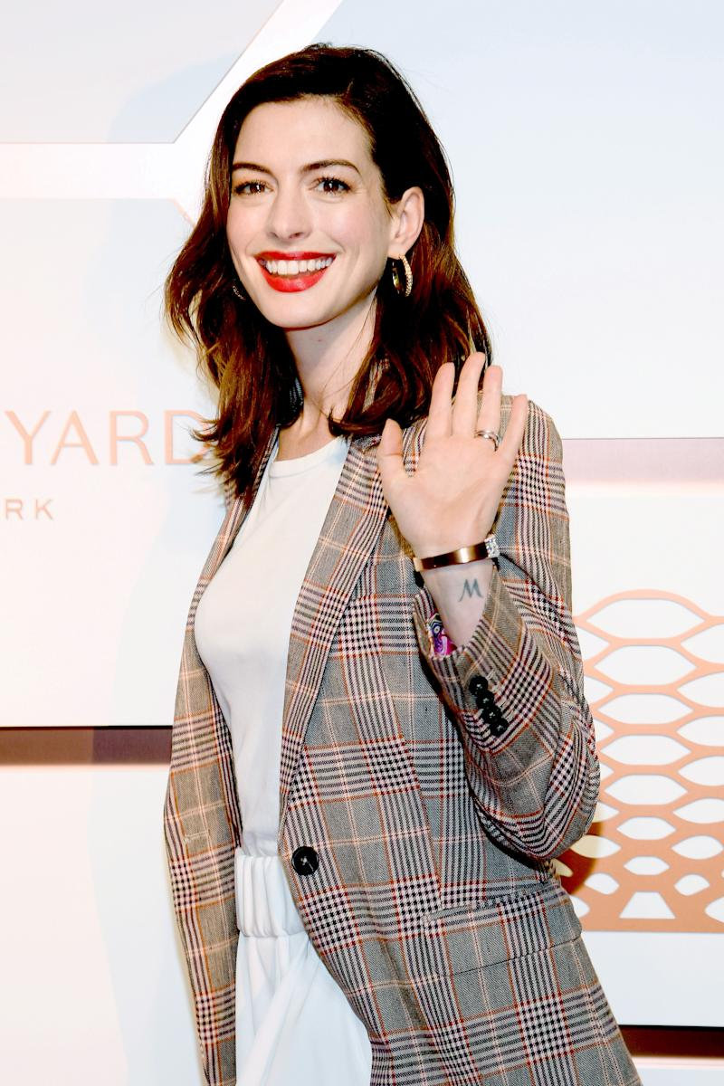 Anne Hathaway attends The Shops & Restaurants at Hudson Yards Preview Celebration on March 14, 2019 in New York City.