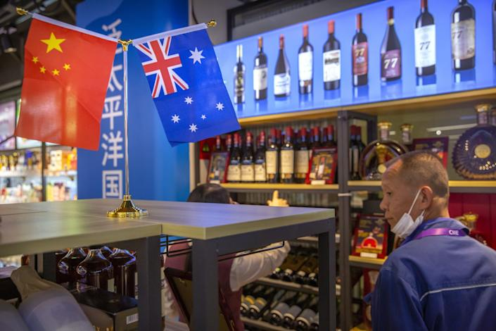 Australian wines on display at a trade expo in Shanghai