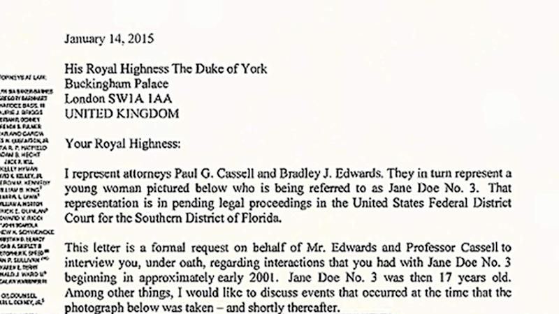 Prince Andrew Sex Claims Full Text Of Letter