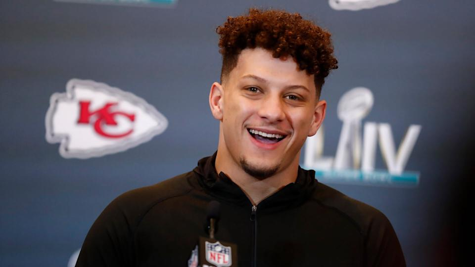 Mandatory Credit: Photo by Brynn Anderson/AP/Shutterstock (10542481r)Kansas City Chiefs quarterback Patrick Mahomes (15) speaks during a news conference, in Aventura, Fla.