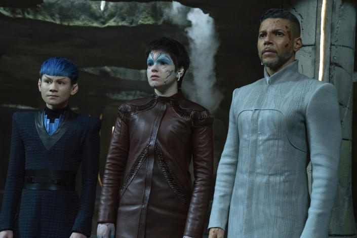 """This image released by Paramount Plus shows, from left, Ian Alexander, Blu del Barrio and Wilson Cruz in a scene from the series """"Star Trek: Discovery."""" The program won the GLAAD award for Outstanding Drama Series. (Michael Gibson/CBS via AP)"""