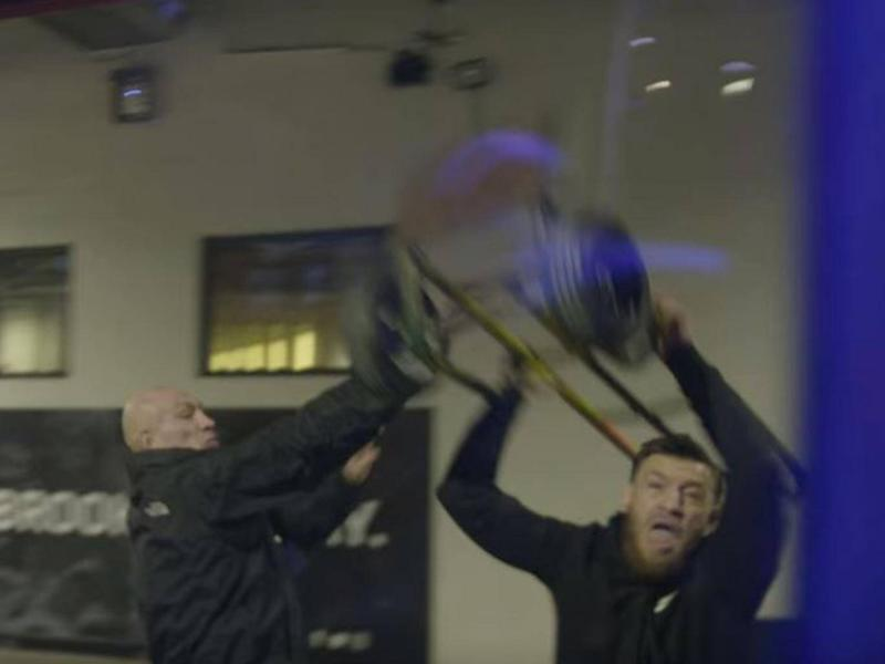 McGregor threw a sack trolley at the bus of Khabib at the UFC 223 media day (YouTube/UFC)