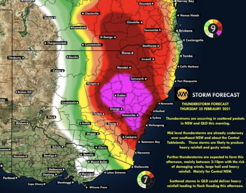 A forecast map showing the intense thunderstorms in the area. Source: NSW Incident Alerts