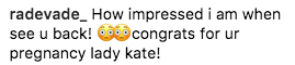 Image of Kate Middleton baby bump comment
