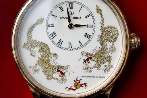 A Chinese-themed limited edition model of a watch by Swiss watchmaker Jaquet Droz, on display in Paudex, western Switzerland. Success-driven Chinese people have today become a driving force behind the Swiss watch market