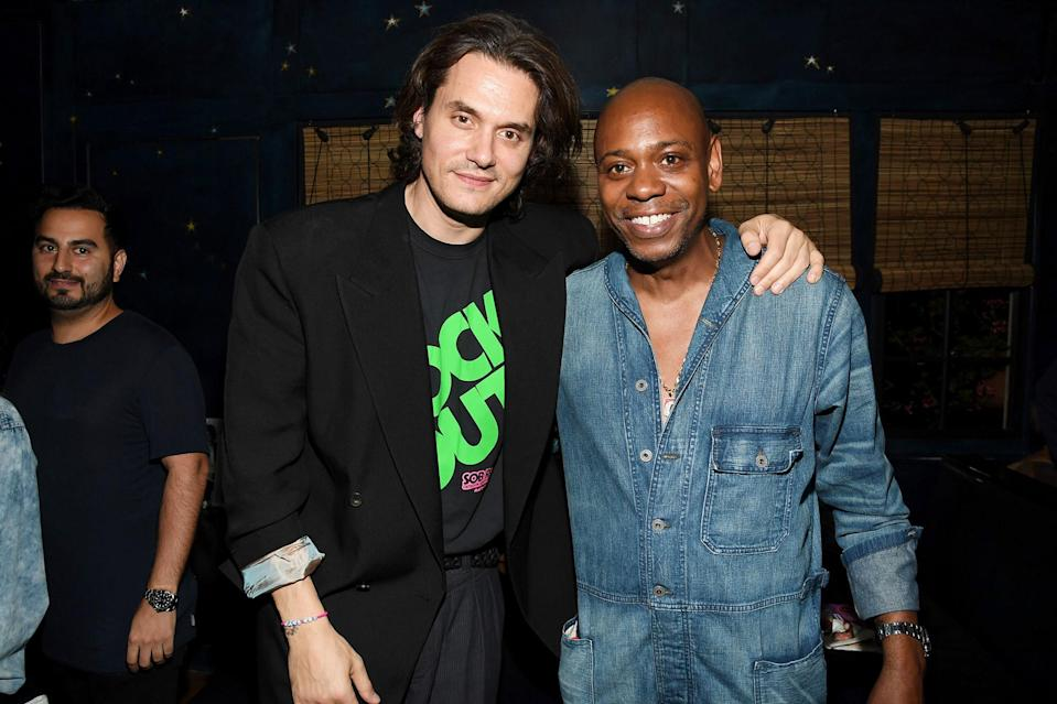 <p>John Mayer and Dave Chappelle attend the <em>Sob Rock</em> listening party at San Vicente Bungalows on July 15 in West Hollywood.</p>