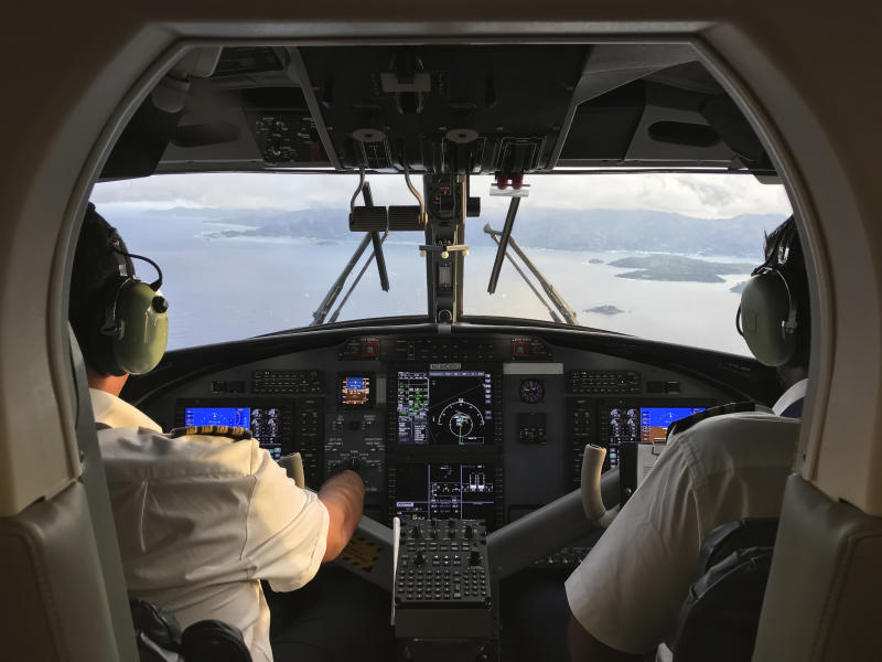Pilot and co-pilot piloting aeroplane from airplane cockpit