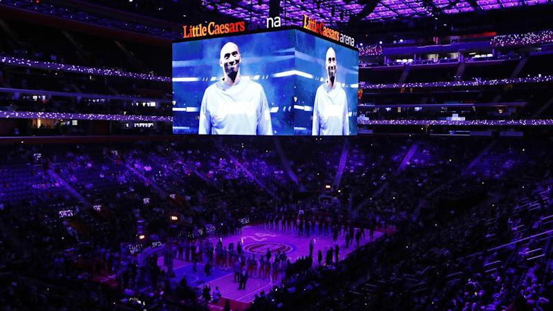 A tribute to Kobe Bryant was played before Monday's NBA clash between Cleveland and Detroit