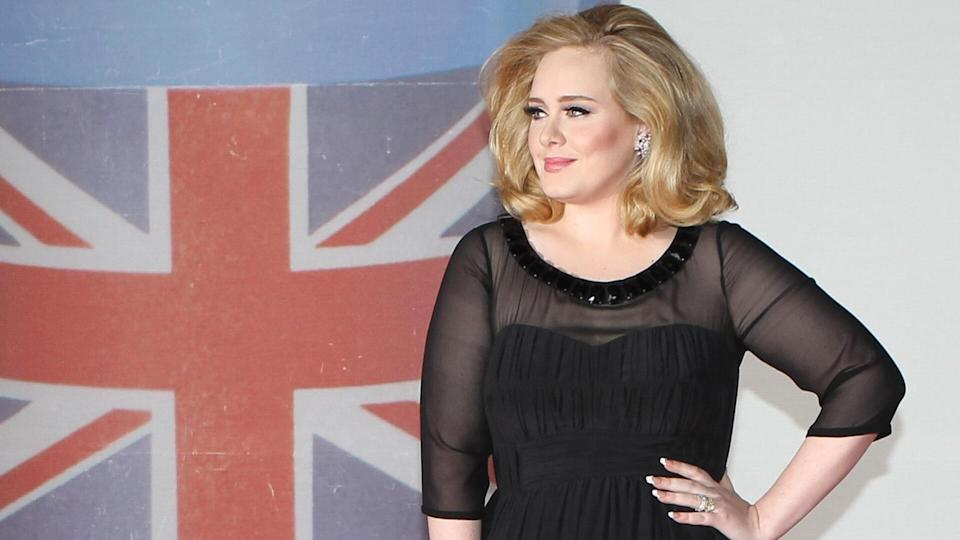 Adele arriving for the 2012 Brit Awards, O2 Arena, London.