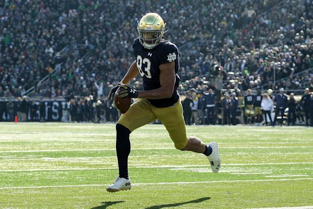 Notre Dame WR Chase Claypool scoring one of his four TDs against Navy. (Photo by Dylan Buell/Getty Images)
