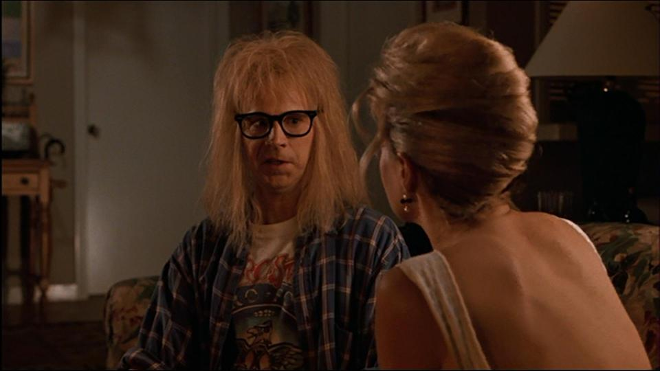 """<p>Honey's seduction of poor little Garth is littered with brilliant one-liners, including: """"I'm going to be frank."""" """"Okay. Can I still be Garth?"""" and """"Take me Garth!"""" """"Where? I'm low on gas and you need a jacket!"""" (Credit: Paramount Pictures) </p>"""