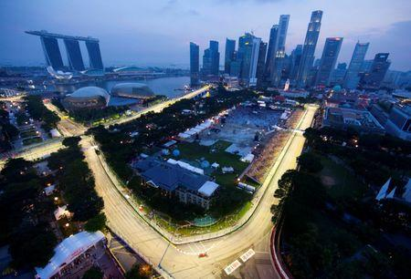 File photo of the illuminated circuit during the third practice session of the Singapore F1 Grand Prix at the Marina Bay circuit