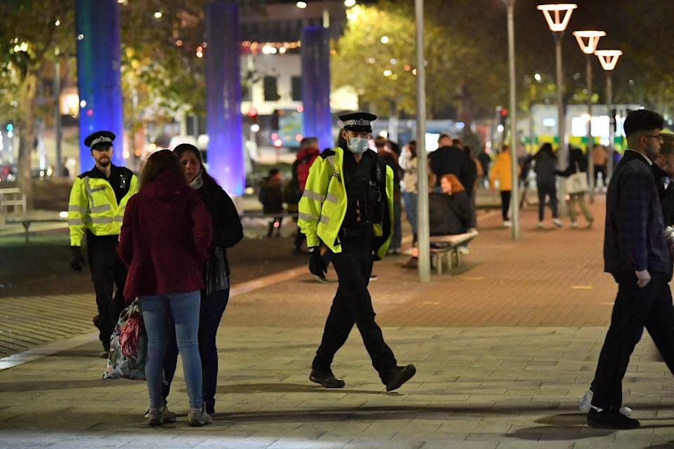 Police patrol in Bristol city centre, ahead of a national lockdown for England from Thursday. (Photo by Ben Birchall/PA Images via Getty Images)