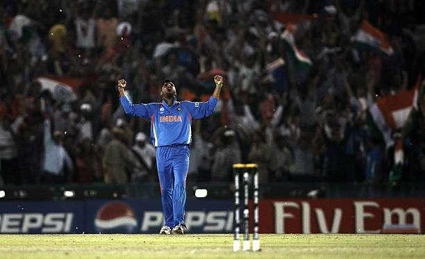 MOHALI, INDIA - MARCH 30: Harbhajan Singh of India celebrates after the dismissal of Shahid Afridi of Pakistan during the 2011 ICC World Cup second Semi-Final between Pakistan and India at Punjab Cricket Association (PCA) Stadium on March 30, 2011 in Mohali, India. (Photo by Graham Crouch/Getty Images)