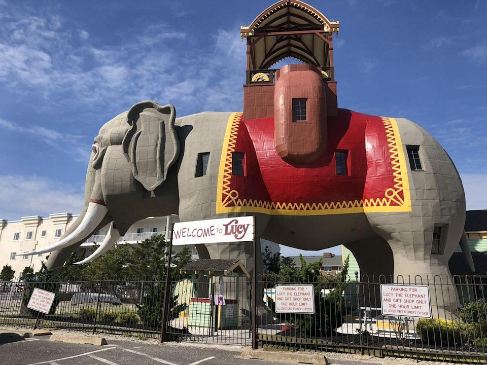 "<p>This six-story elephant is actually a building you can go inside. Built in 1881, Lucy stands just south of Atlantic City's famed boardwalk in Margate. She's an example of novelty architecture and the oldest surviving roadside tourist attraction in America. You can visit her for free, but if you'd like to go inside and take a tour, <a href=""https://lucytheelephant.org/"" rel=""nofollow noopener"" target=""_blank"" data-ylk=""slk:there is a fee"" class=""link rapid-noclick-resp"">there is a fee</a>.<br></p>"