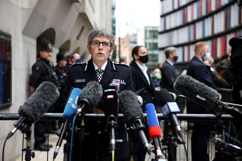 Metropolitan Police Commissioner Cressida Dick delivers a statement outside the Old Bailey, where police officer Wayne Couzens was sentenced following the murder of Sarah Everard, in London