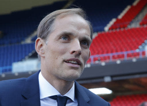 New Paris Saint-Germain coach Thomas Tuchel speaks during an interview with the Associated Press at Parc des Prince stadium in Paris, France, Sunday, May 20, 2018. The 44-year-old German joined PSG on a two-year deal. He replaces Unai Emery, whose two-year contract was not renewed after PSG again failed to get far in the Champions League. (AP Photo/Michel Euler)