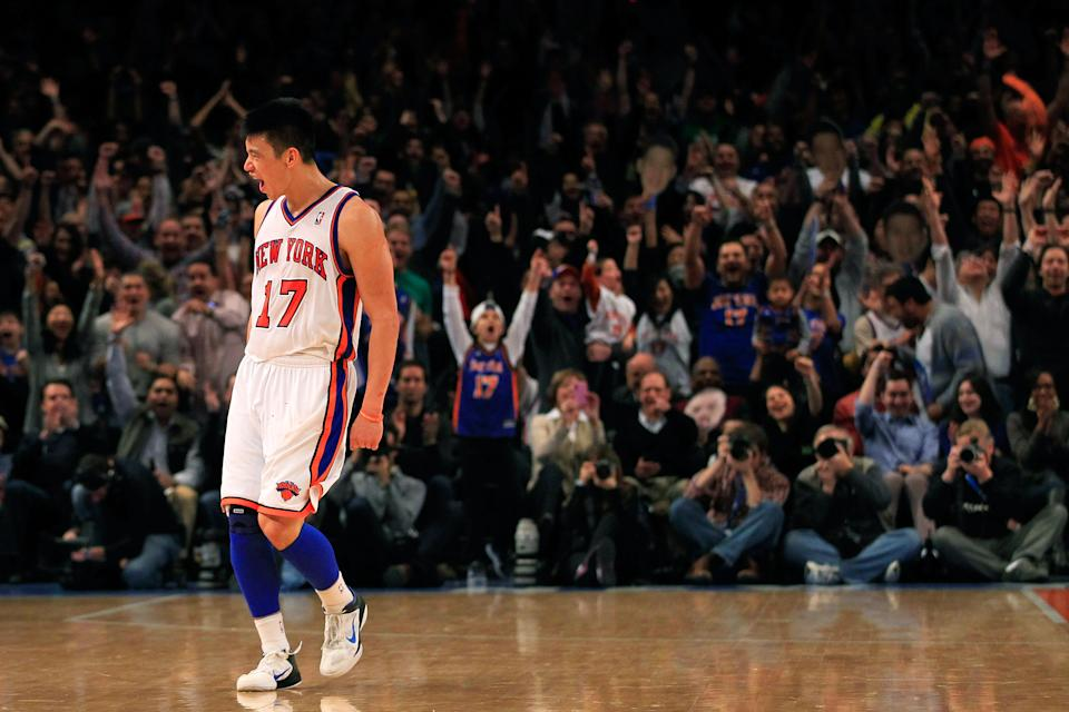 NEW YORK, NY - FEBRUARY 19:  Jeremy Lin #17 of the New York Knicks reacts after shooting a three pointer against the Dallas Mavericks at Madison Square Garden on February 19, 2012 in New York City. NOTE TO USER: User expressly acknowledges and agrees that, by downloading and/or using this Photograph, user is consenting to the terms and conditions of the Getty Images License Agreement.  (Photo by Chris Trotman/Getty Images)